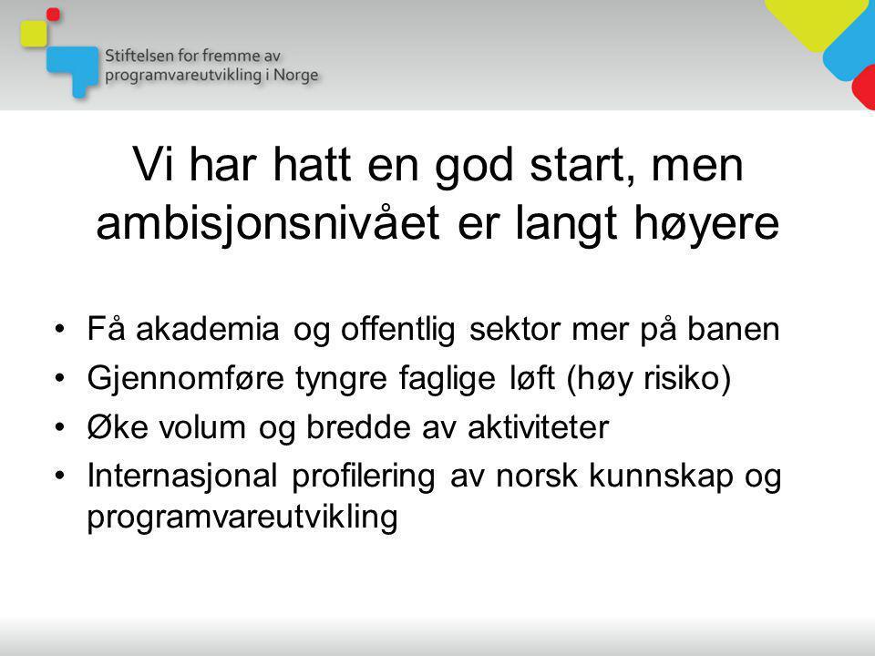 Vi har hatt en god start, men ambisjonsnivået er langt høyere •Få akademia og offentlig sektor mer på banen •Gjennomføre tyngre faglige løft (høy risiko) •Øke volum og bredde av aktiviteter •Internasjonal profilering av norsk kunnskap og programvareutvikling