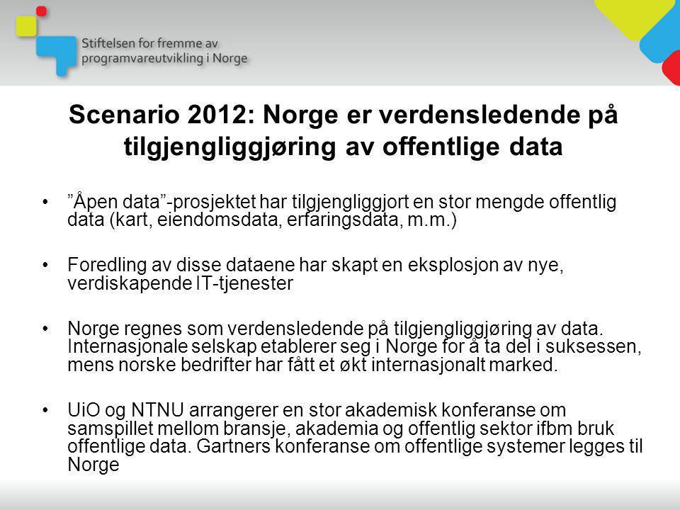 • Åpen data -prosjektet har tilgjengliggjort en stor mengde offentlig data (kart, eiendomsdata, erfaringsdata, m.m.) •Foredling av disse dataene har skapt en eksplosjon av nye, verdiskapende IT-tjenester •Norge regnes som verdensledende på tilgjengliggjøring av data.