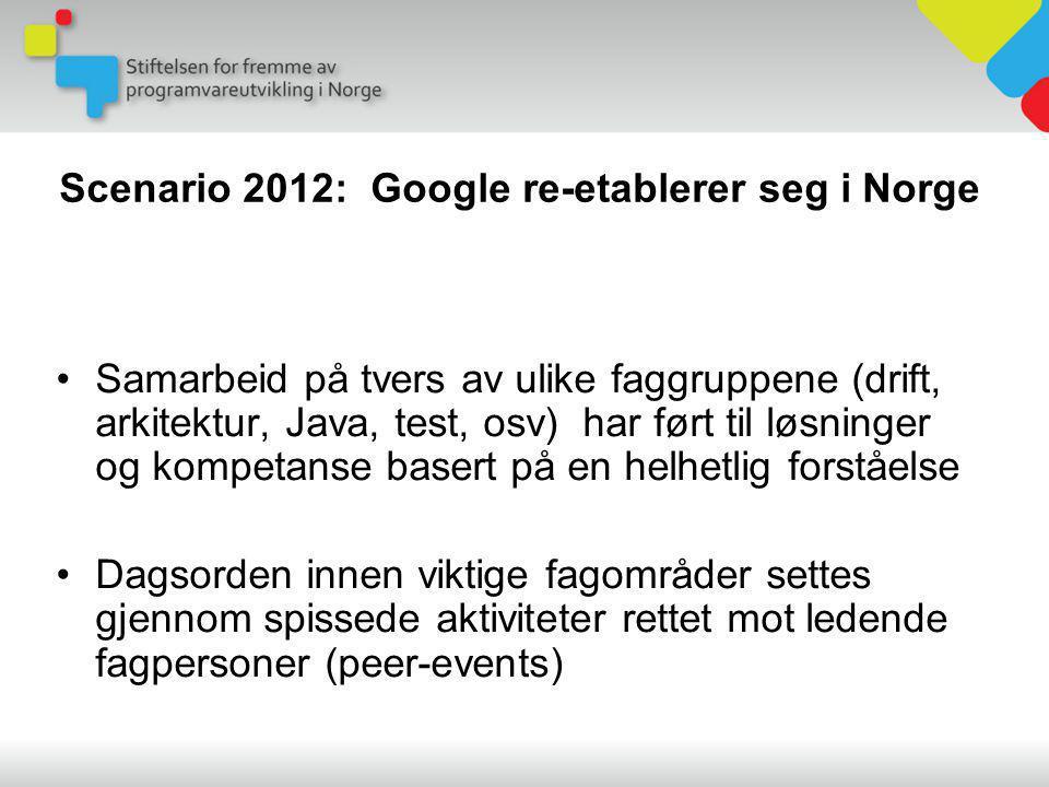 Scenario 2012: Google re-etablerer seg i Norge •Samarbeid på tvers av ulike faggruppene (drift, arkitektur, Java, test, osv) har ført til løsninger og kompetanse basert på en helhetlig forståelse •Dagsorden innen viktige fagområder settes gjennom spissede aktiviteter rettet mot ledende fagpersoner (peer-events)