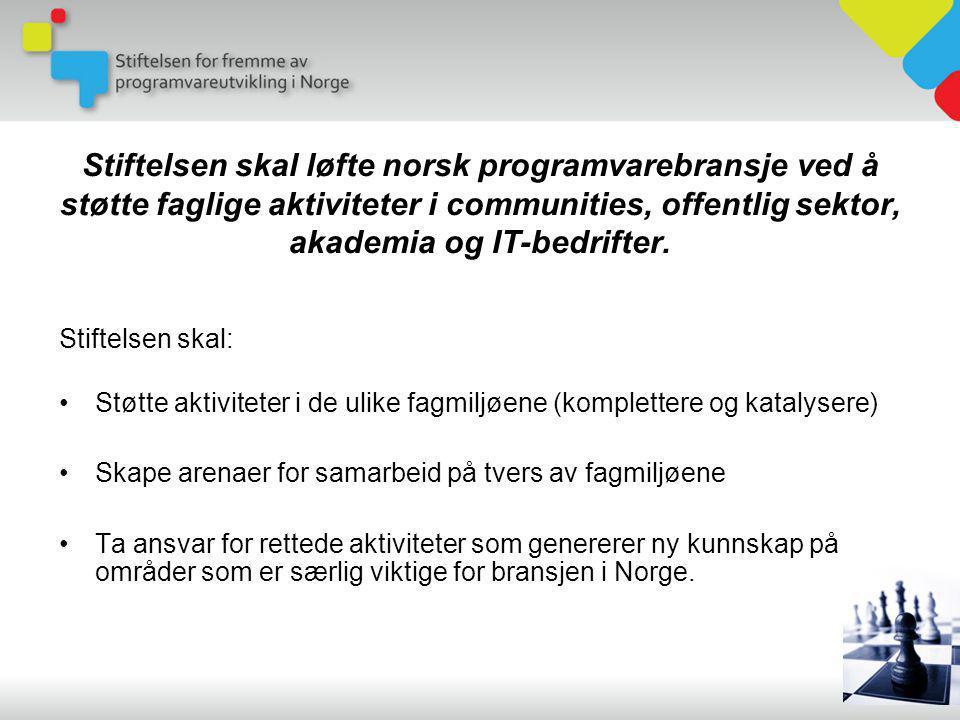 Stiftelsen skal løfte norsk programvarebransje ved å støtte faglige aktiviteter i communities, offentlig sektor, akademia og IT-bedrifter.