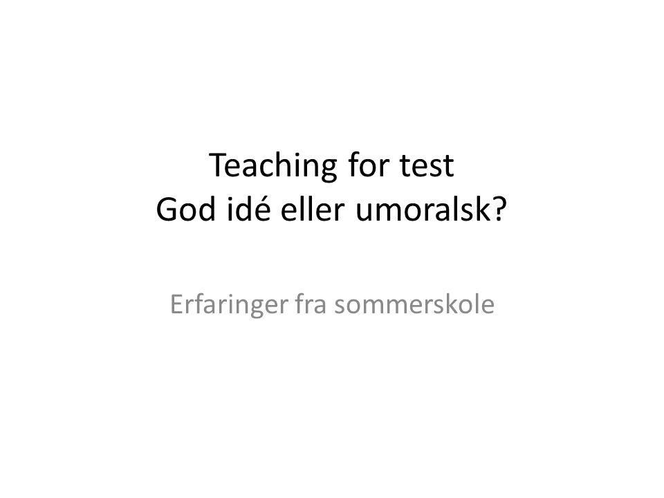 Teaching for test God idé eller umoralsk Erfaringer fra sommerskole