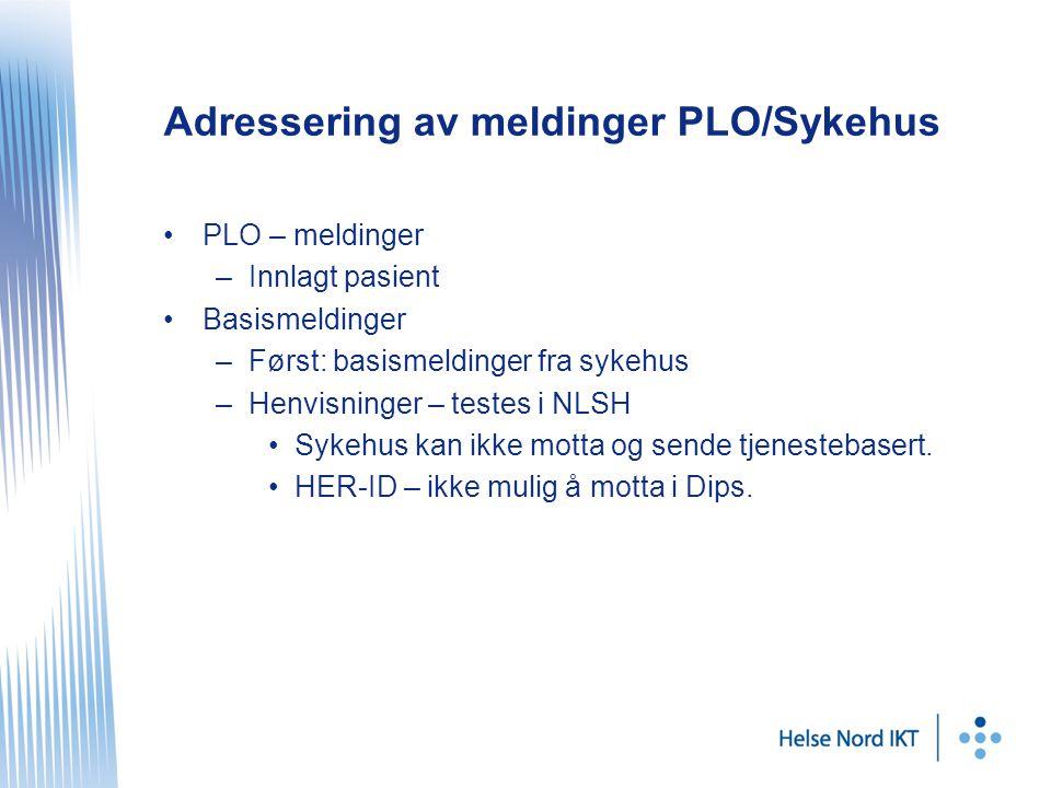 Adressering av meldinger PLO/Sykehus •PLO – meldinger –Innlagt pasient •Basismeldinger –Først: basismeldinger fra sykehus –Henvisninger – testes i NLSH •Sykehus kan ikke motta og sende tjenestebasert.