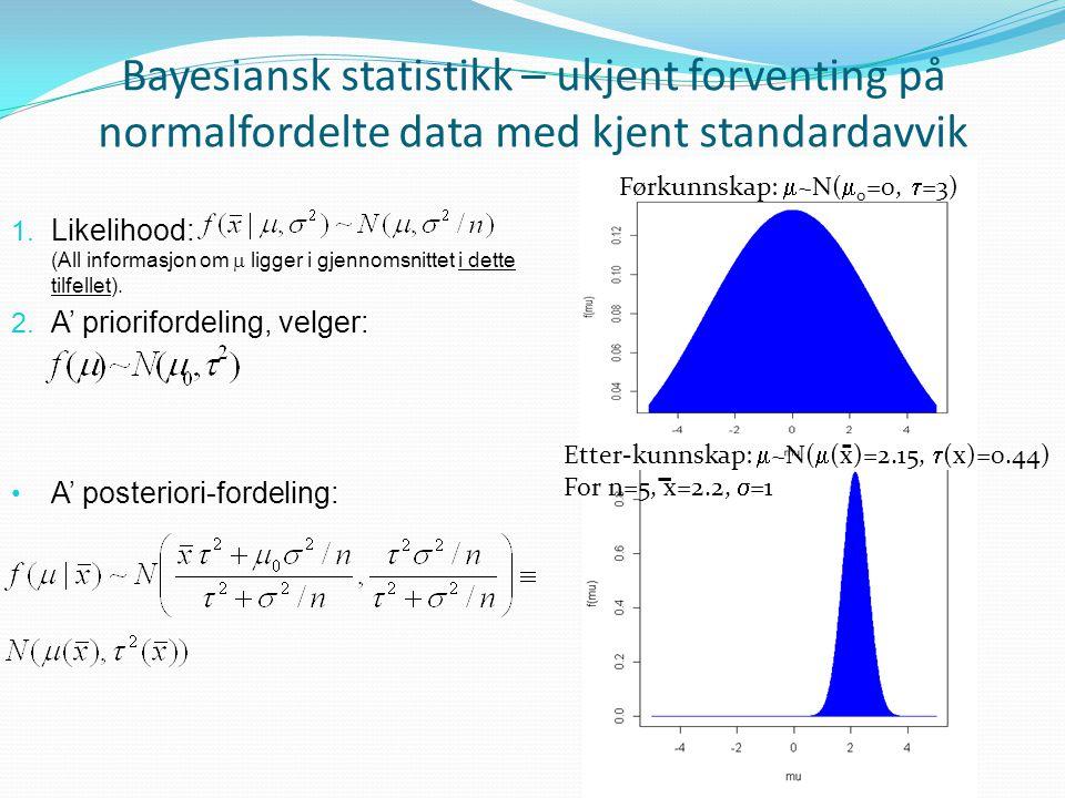 Bayesiansk statistikk – ukjent forventing på normalfordelte data med kjent standardavvik 1. Likelihood: (All informasjon om  ligger i gjennomsnittet