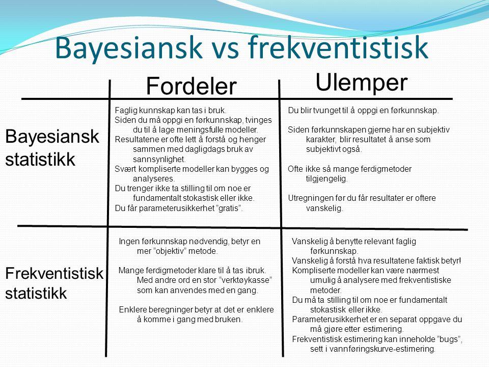 Bayesiansk vs frekventistisk Fordeler Ulemper Bayesiansk statistikk Frekventistisk statistikk Faglig kunnskap kan tas i bruk. Siden du må oppgi en før