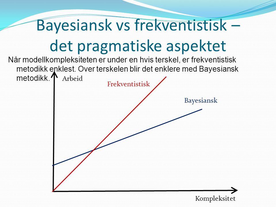 Bayesiansk vs frekventistisk – det pragmatiske aspektet Når modellkompleksiteten er under en hvis terskel, er frekventistisk metodikk enklest. Over te