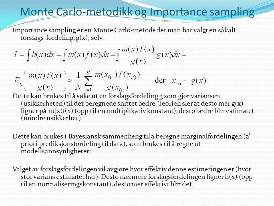 Monte Carlo-metodikk og Importance sampling Importance sampling er en Monte Carlo-metode der man har valgt en såkalt forslags-fordeling, g(x), selv. D