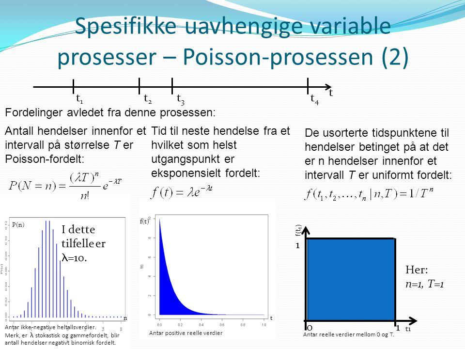 Spesifikke uavhengige variable prosesser – Poisson-prosessen (2) Fordelinger avledet fra denne prosessen: t t1t1 t2t2 t3t3 t4t4 Antall hendelser innen
