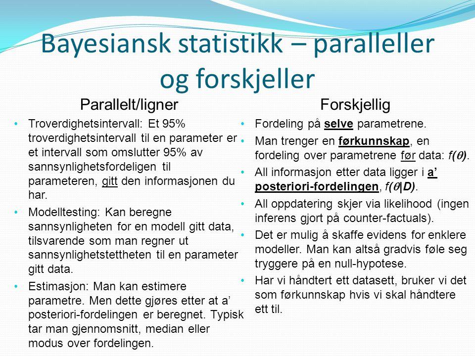Bayesiansk statistikk – paralleller og forskjeller Parallelt/ligner • Troverdighetsintervall: Et 95% troverdighetsintervall til en parameter er et int