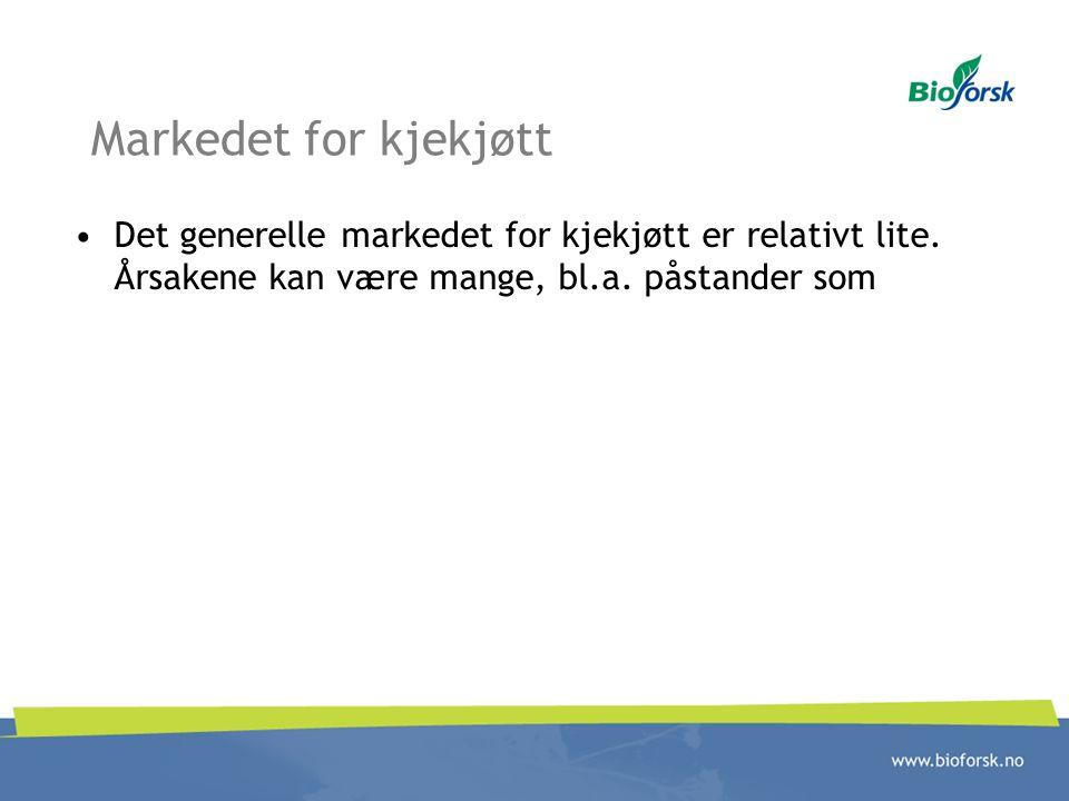Markedet for kjekjøtt •Det generelle markedet for kjekjøtt er relativt lite. Årsakene kan være mange, bl.a. påstander som