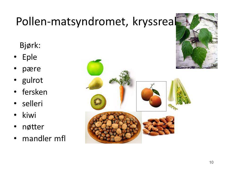 10 Pollen-matsyndromet, kryssreaksjoner Bjørk: • Eple • pære • gulrot • fersken • selleri • kiwi • nøtter • mandler mfl