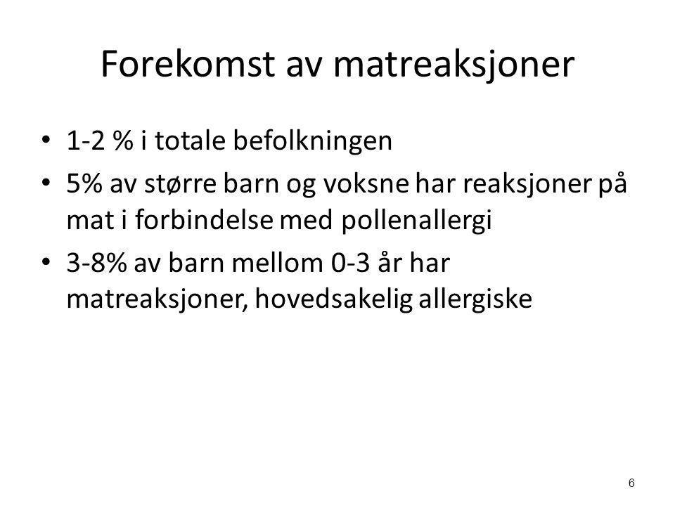 6 Forekomst av matreaksjoner • 1-2 % i totale befolkningen • 5% av større barn og voksne har reaksjoner på mat i forbindelse med pollenallergi • 3-8%