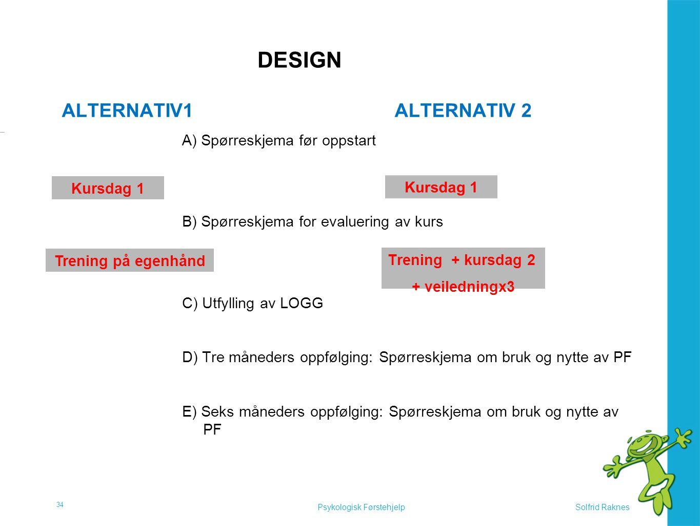 Solfrid RaknesPsykologisk Førstehjelp DESIGN ALTERNATIV1ALTERNATIV 2 A) Spørreskjema før oppstart B) Spørreskjema for evaluering av kurs C) Utfylling