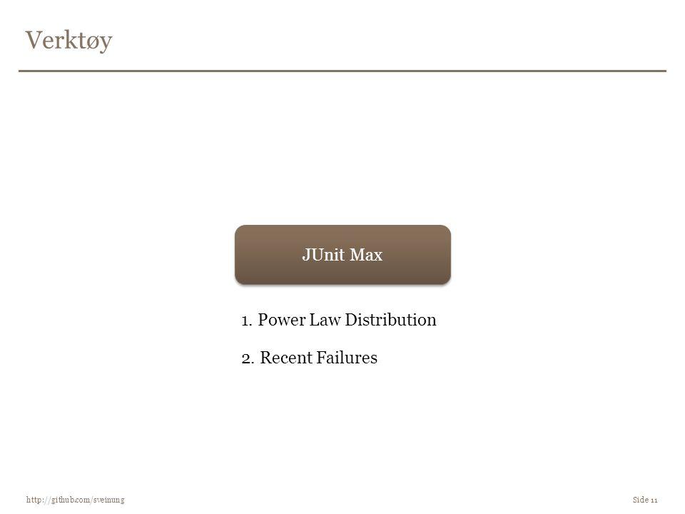 Verktøy http://github.com/sveinung Side 11 JUnit Max 1. Power Law Distribution 2. Recent Failures