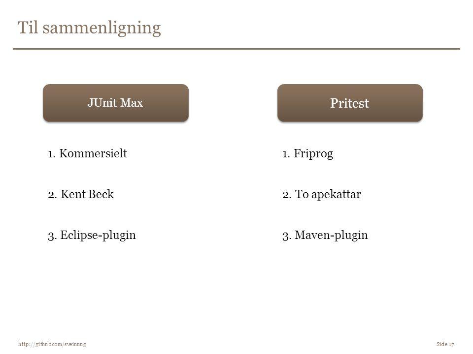 Til sammenligning http://github.com/sveinung Side 17 Pritest JUnit Max 1. Friprog1. Kommersielt 2. Kent Beck2. To apekattar 3. Eclipse-plugin3. Maven-