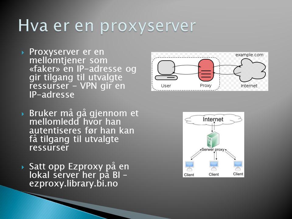  Ezproxy-wiki'en fra HiOA gir oss veldig mye gratis http://ezproxy.wikispaces.com/Hjem http://ezproxy.wikispaces.com/Hjem  Informasjon om databasene legges i en egen konfigurasjonsfil som ligger på serveren  Løsning i praksis hos HSH http://www.hsh.no/bibliot eket/fagressurser/okad.ht m http://www.hsh.no/bibliot eket/fagressurser/okad.ht m Eksempel