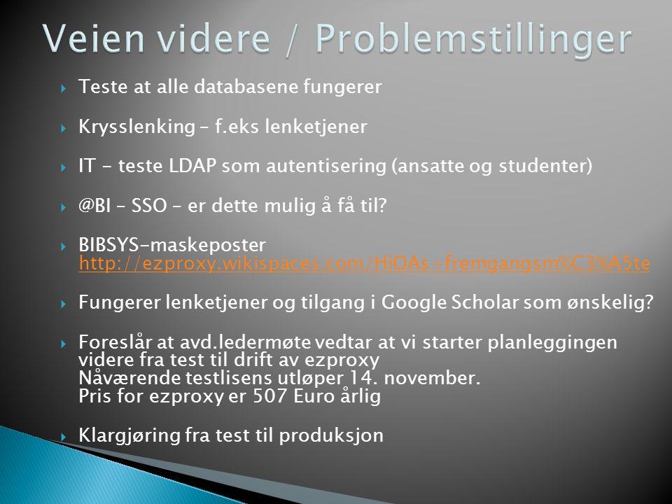  Teste at alle databasene fungerer  Krysslenking – f.eks lenketjener  IT - teste LDAP som autentisering (ansatte og studenter)  @BI – SSO – er det