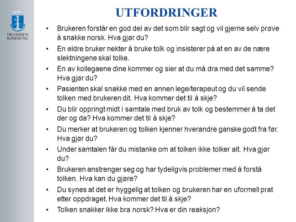 •Brukeren forstår en god del av det som blir sagt og vil gjerne selv prøve å snakke norsk. Hva gjør du? •En eldre bruker nekter å bruke tolk og insist