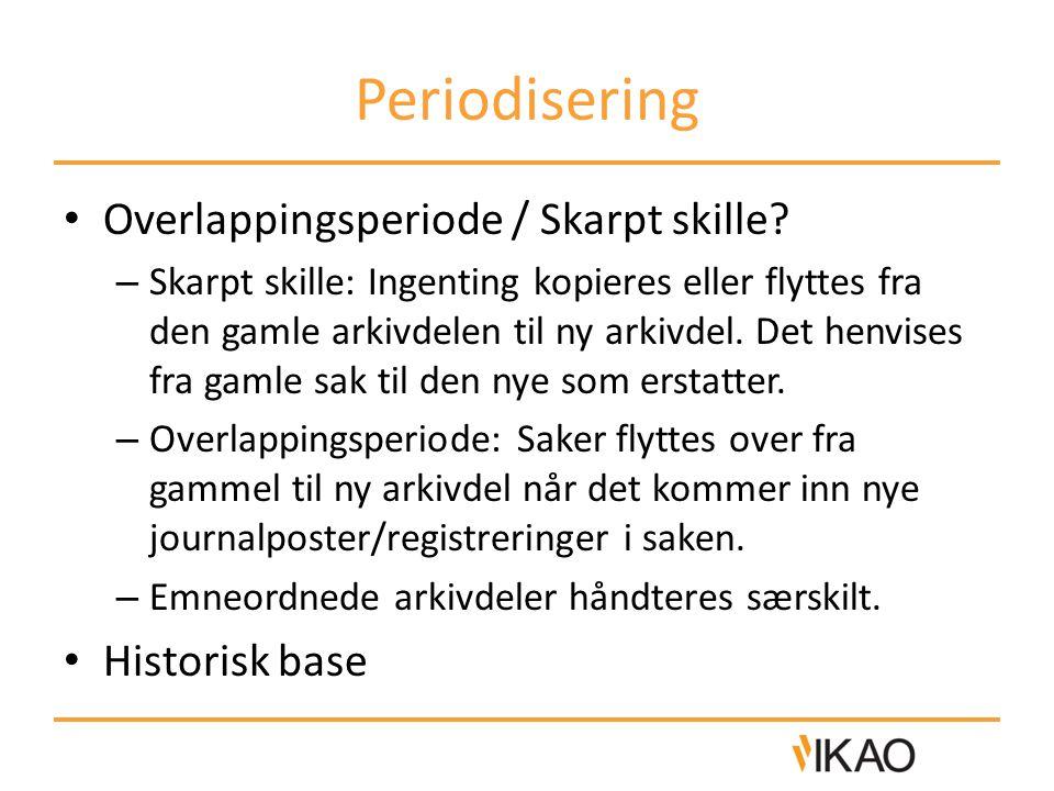 Periodisering • Overlappingsperiode / Skarpt skille.
