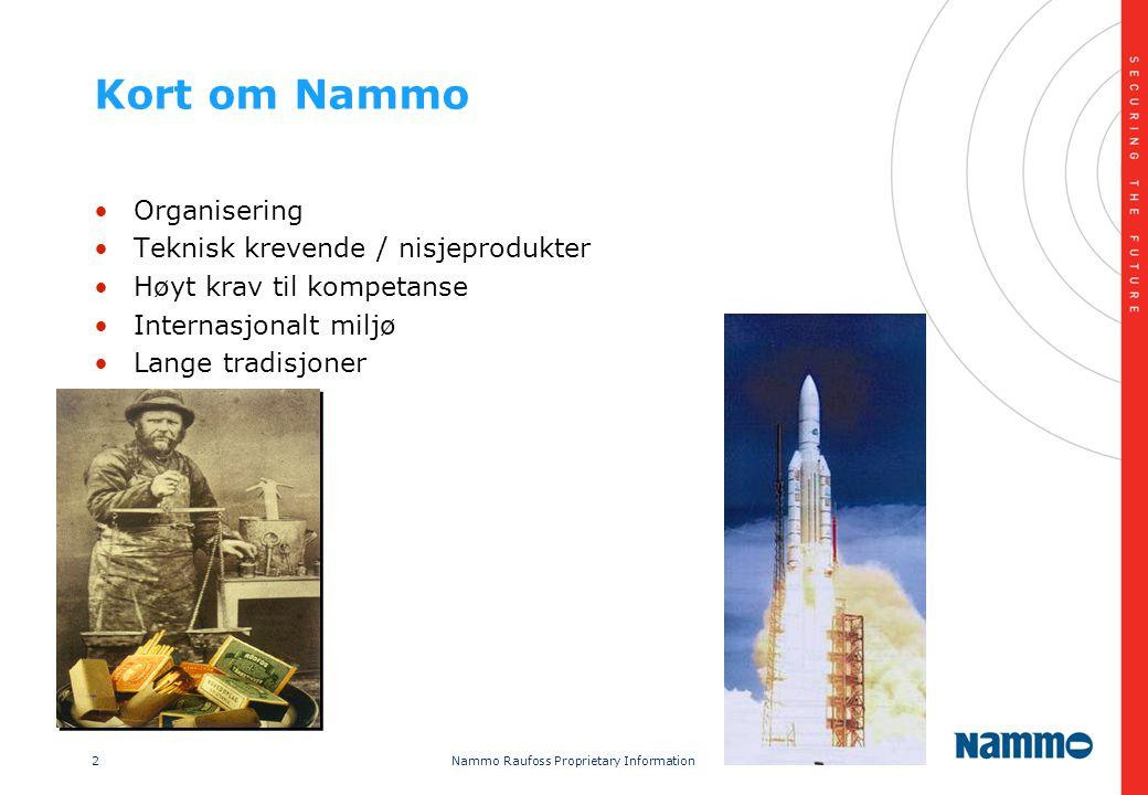 2 Nammo Raufoss Proprietary Information Kort om Nammo •Organisering •Teknisk krevende / nisjeprodukter •Høyt krav til kompetanse •Internasjonalt miljø •Lange tradisjoner