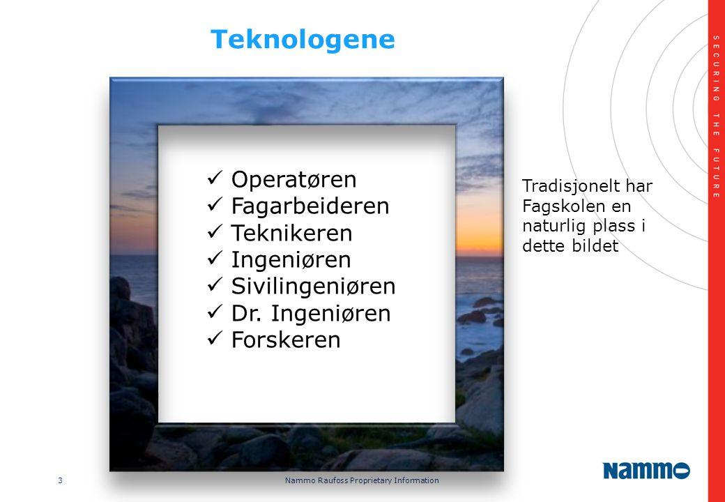 3 Nammo Raufoss Proprietary Information Teknologene  Operatøren  Fagarbeideren  Teknikeren  Ingeniøren  Sivilingeniøren  Dr.