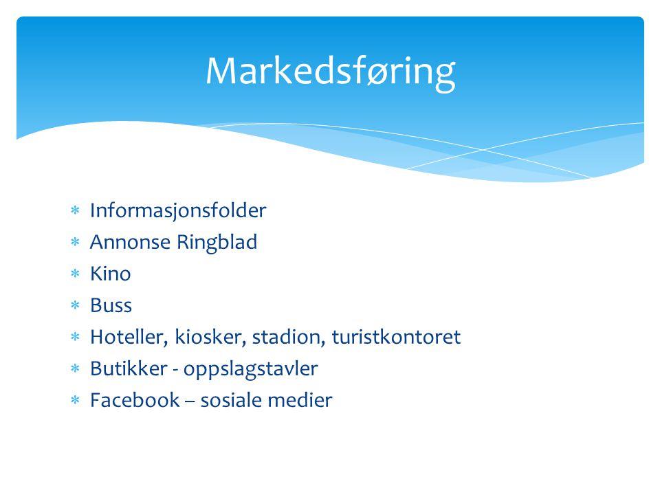  Informasjonsfolder  Annonse Ringblad  Kino  Buss  Hoteller, kiosker, stadion, turistkontoret  Butikker - oppslagstavler  Facebook – sosiale me