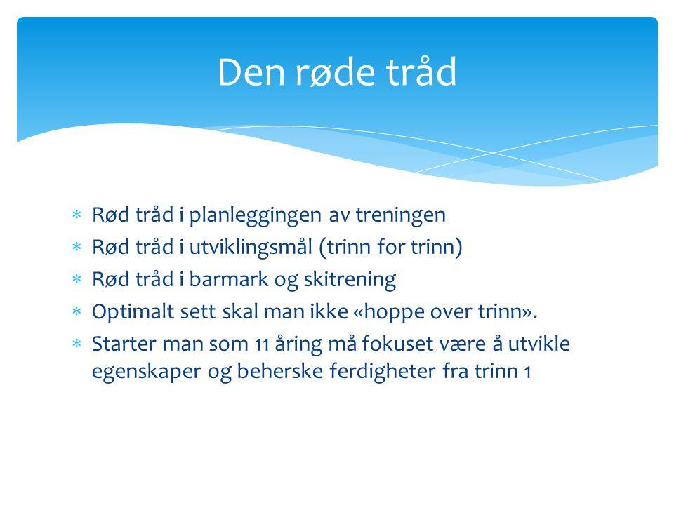  Rød tråd i planleggingen av treningen  Rød tråd i utviklingsmål (trinn for trinn)  Rød tråd i barmark og skitrening  Optimalt sett skal man ikke