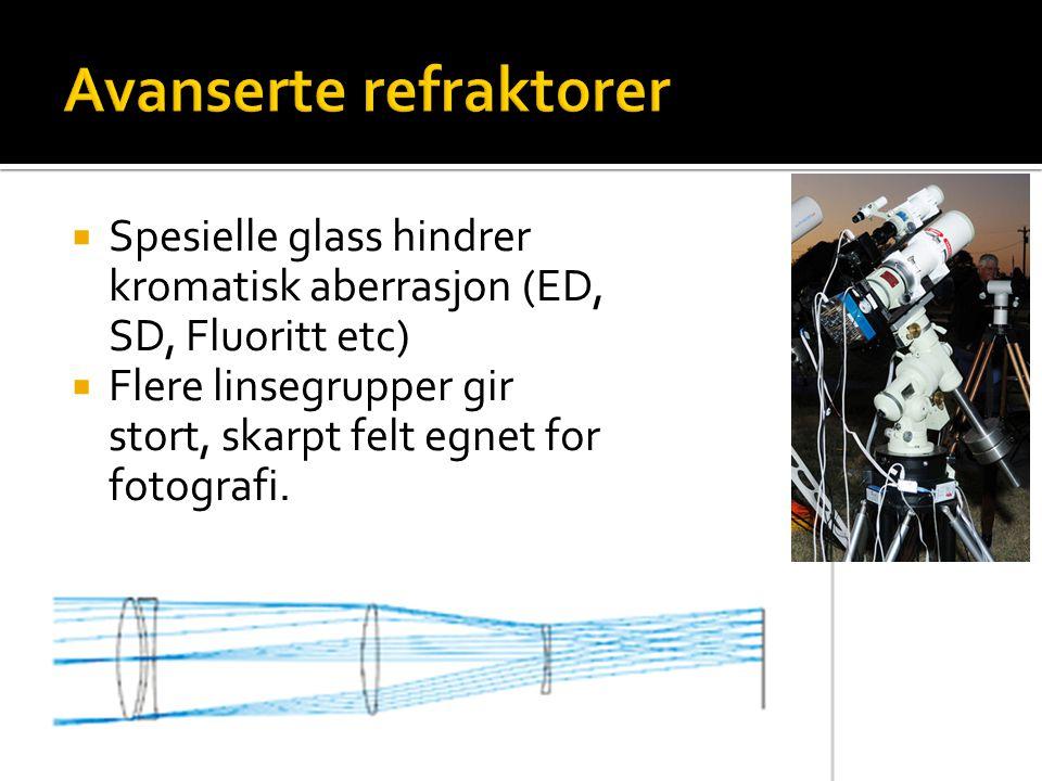  Spesielle glass hindrer kromatisk aberrasjon (ED, SD, Fluoritt etc)  Flere linsegrupper gir stort, skarpt felt egnet for fotografi.