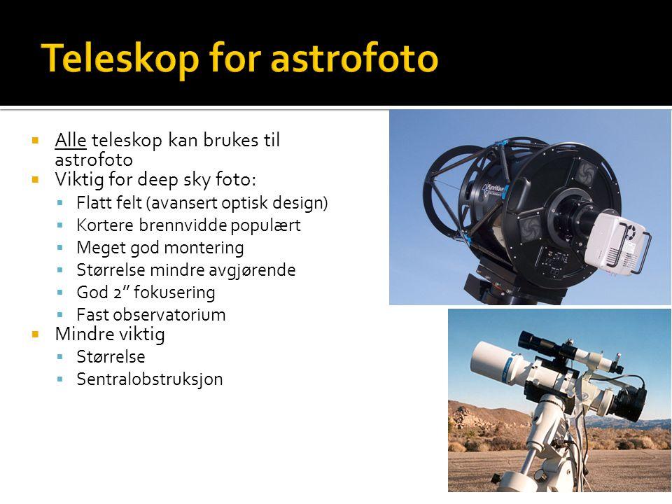  Alle teleskop kan brukes til astrofoto  Viktig for deep sky foto:  Flatt felt (avansert optisk design)  Kortere brennvidde populært  Meget god montering  Størrelse mindre avgjørende  God 2'' fokusering  Fast observatorium  Mindre viktig  Størrelse  Sentralobstruksjon