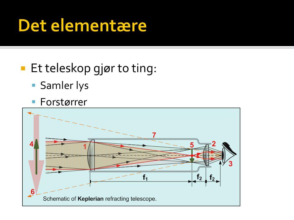  Et teleskop gjør to ting:  Samler lys  Forstørrer