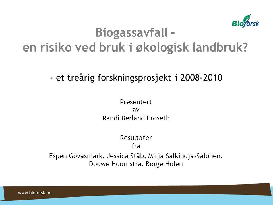 Biogassavfall – en risiko ved bruk i økologisk landbruk.