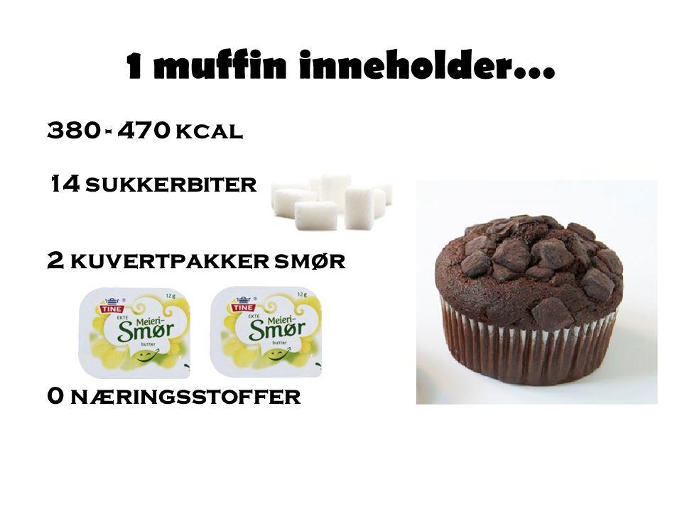 1 muffin inneholder… 380 - 470 kcal 14 sukkerbiter 2 kuvertpakker smør 0 næringsstoffer