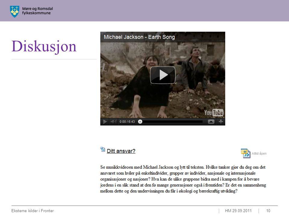 Diskusjon HM 29.09.2011Eksterne kilder i Fronter10