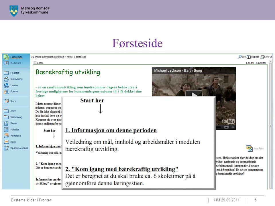 Læringssti HM 29.09.2011Eksterne kilder i Fronter6