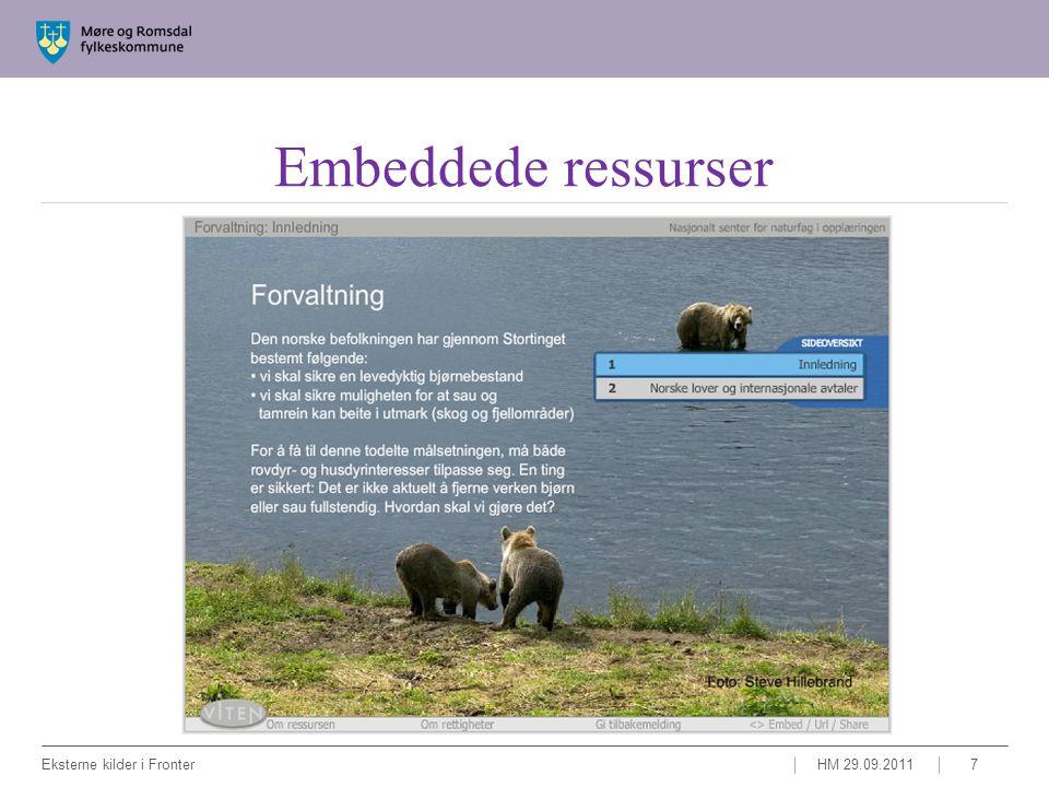 Linkede ressurser HM 29.09.2011Eksterne kilder i Fronter8