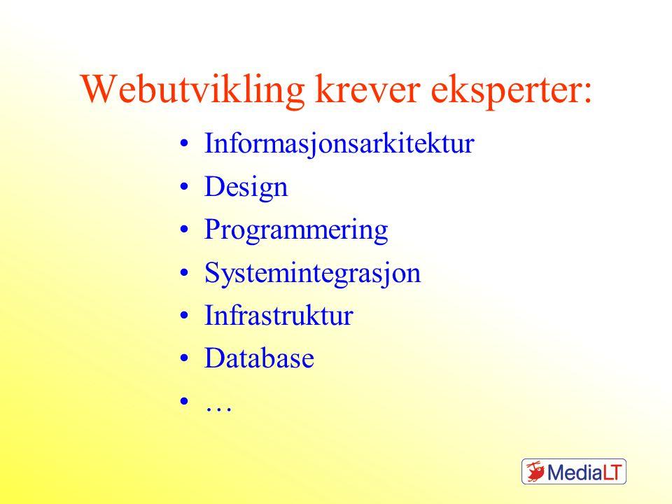 Webutvikling krever eksperter: •Informasjonsarkitektur •Design •Programmering •Systemintegrasjon •Infrastruktur •Database •…
