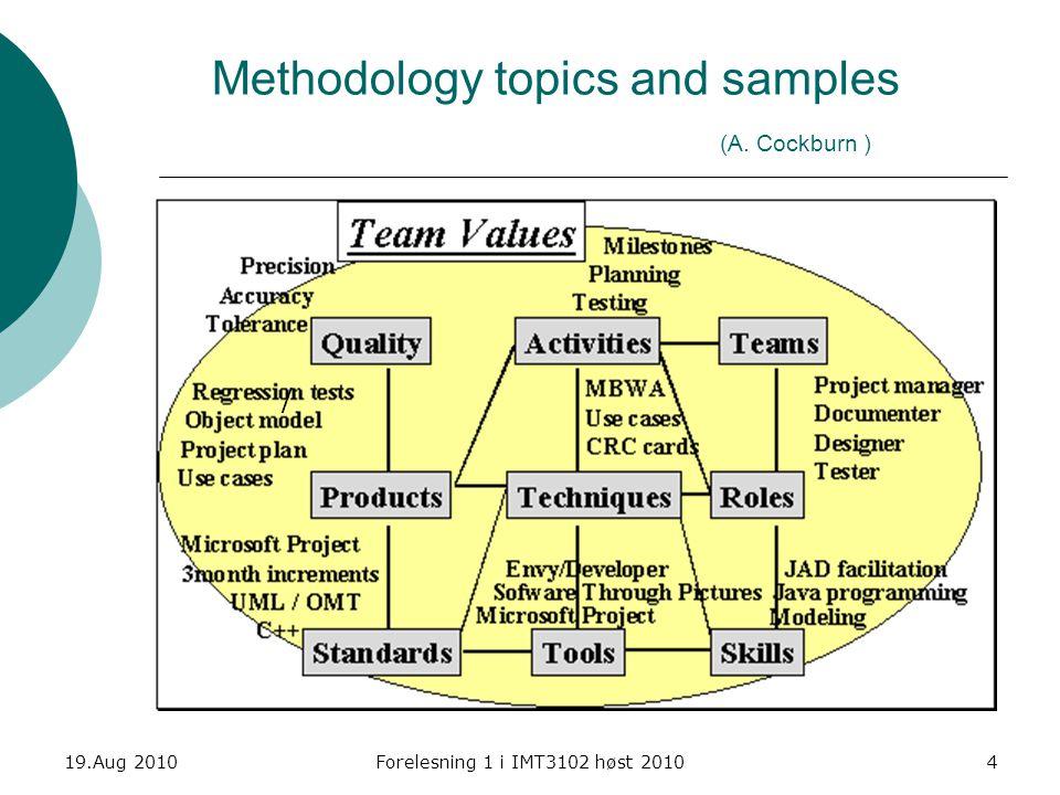 19.Aug 2010Forelesning 1 i IMT3102 høst 20104 Methodology topics and samples (A. Cockburn ) /