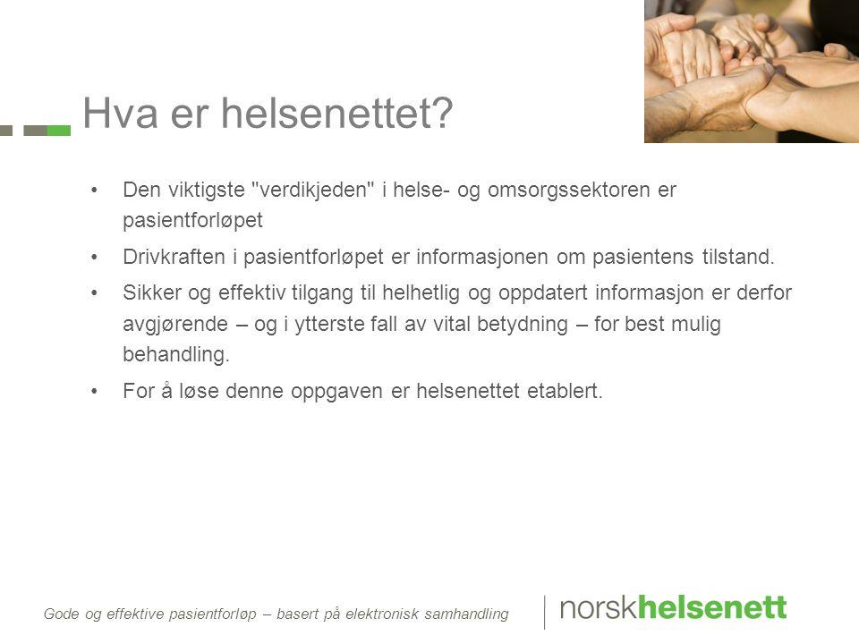 Gode og effektive pasientforløp – basert på elektronisk samhandling Hva er helsenettet.