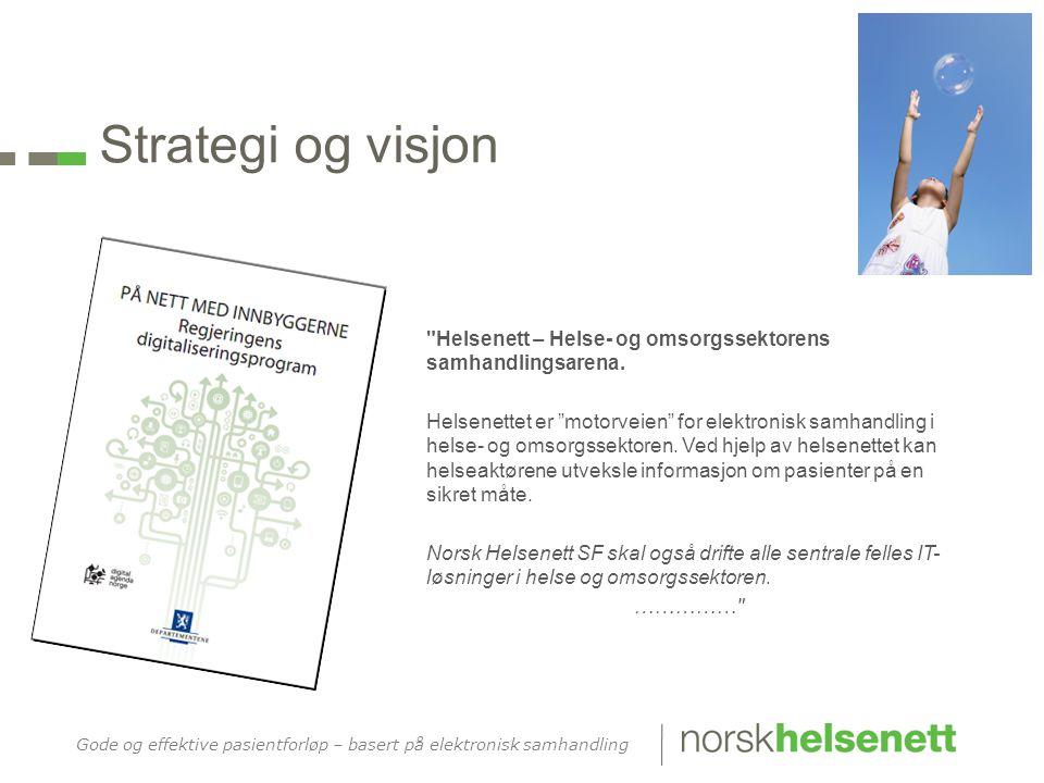 Strategi og visjon Helsenett – Helse- og omsorgssektorens samhandlingsarena.