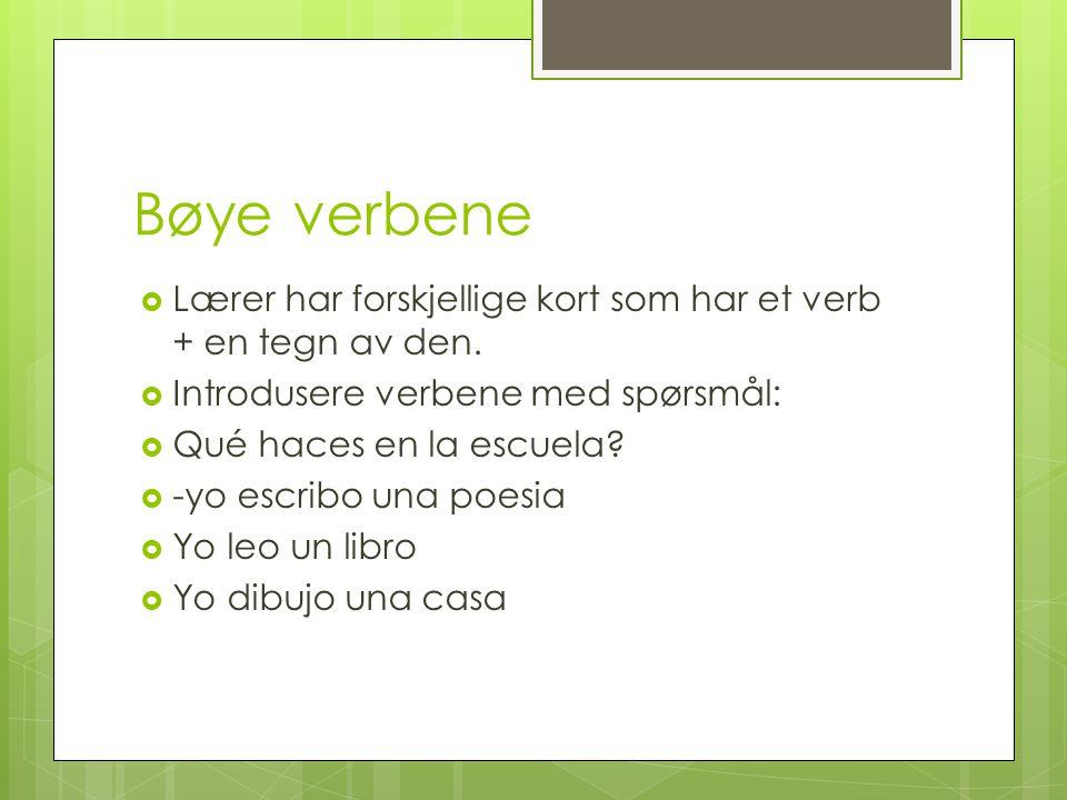 Bøye verbene  Lærer har forskjellige kort som har et verb + en tegn av den.  Introdusere verbene med spørsmål:  Qué haces en la escuela?  -yo escr