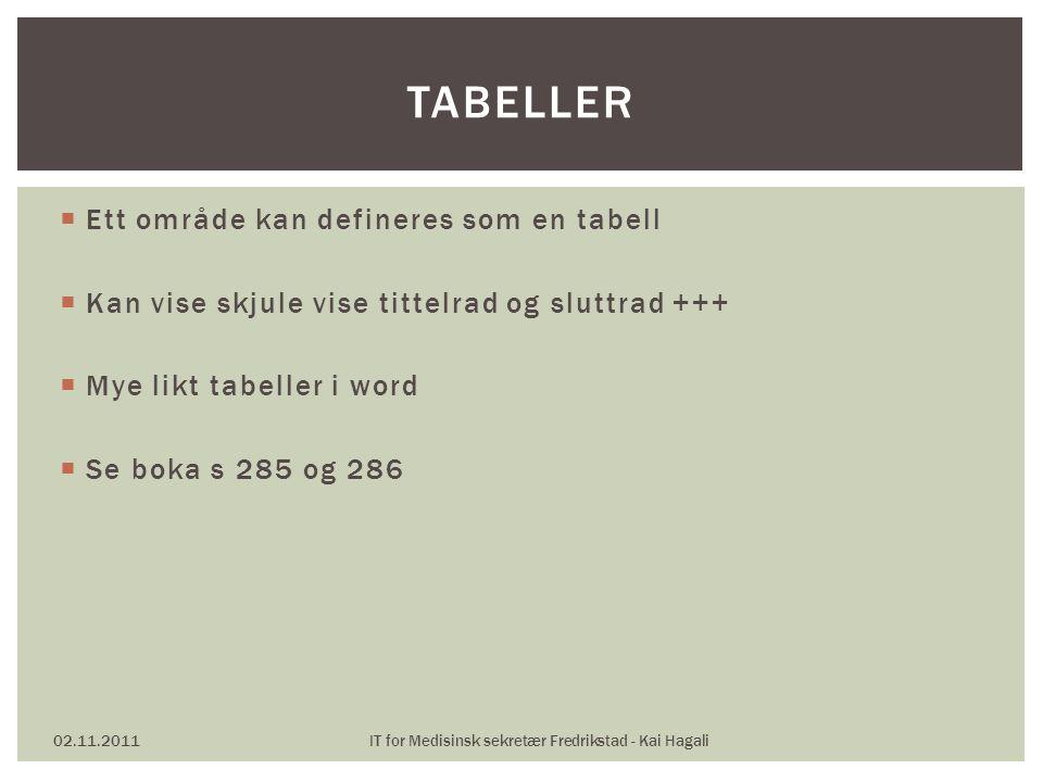 Ett område kan defineres som en tabell  Kan vise skjule vise tittelrad og sluttrad +++  Mye likt tabeller i word  Se boka s 285 og 286 02.11.2011IT for Medisinsk sekretær Fredrikstad - Kai Hagali TABELLER