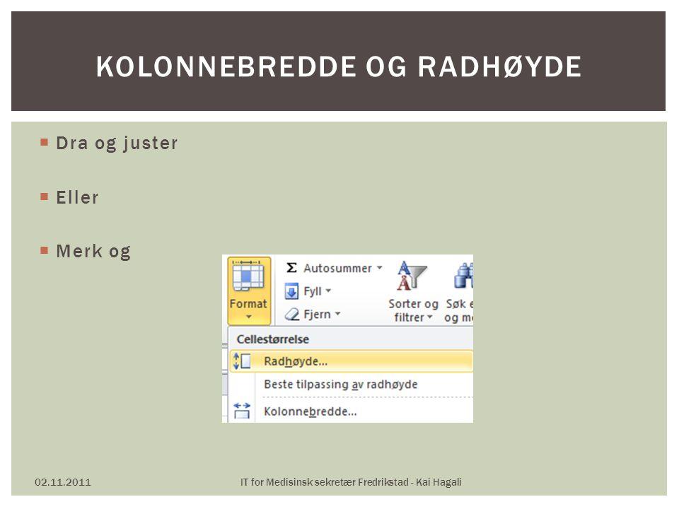  Dra og juster  Eller  Merk og 02.11.2011IT for Medisinsk sekretær Fredrikstad - Kai Hagali KOLONNEBREDDE OG RADHØYDE