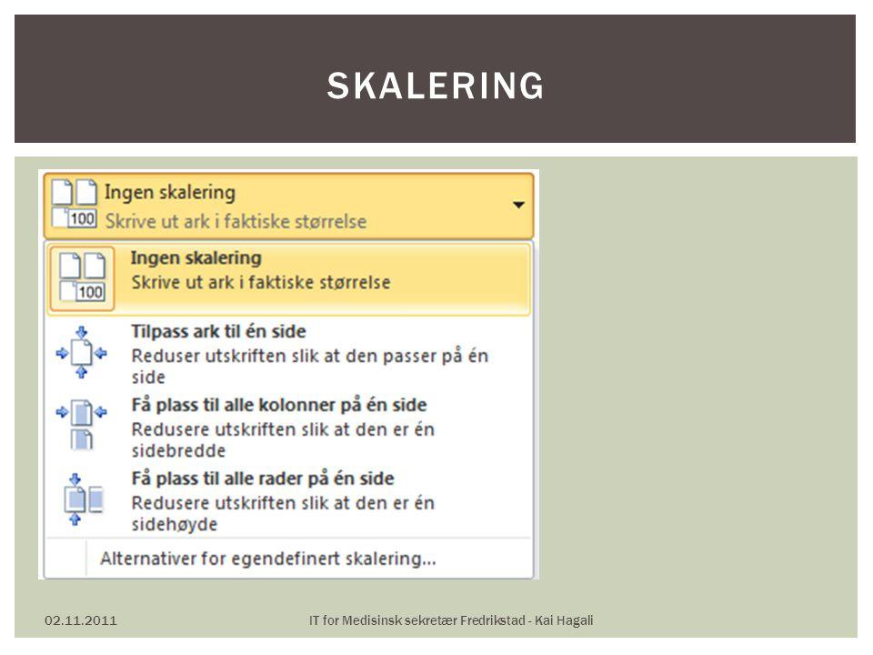 02.11.2011IT for Medisinsk sekretær Fredrikstad - Kai Hagali SKALERING