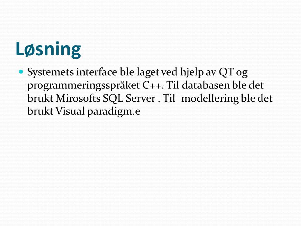 Løsning  Systemets interface ble laget ved hjelp av QT og programmeringsspråket C++.