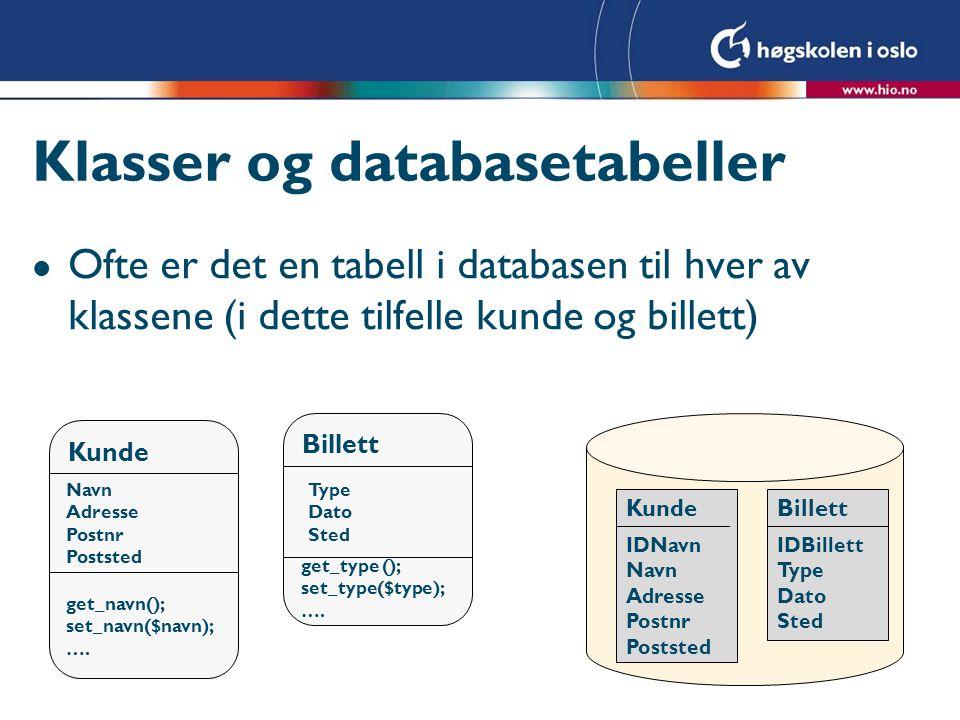 Klasser og databasetabeller l Ofte er det en tabell i databasen til hver av klassene (i dette tilfelle kunde og billett) Kunde Billett Navn Adresse Po