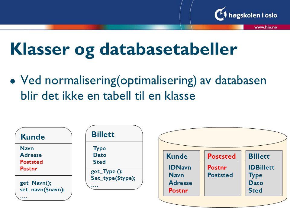 Klasser og databasetabeller l Ved normalisering(optimalisering) av databasen blir det ikke en tabell til en klasse Kunde Navn Adresse Poststed Postnr