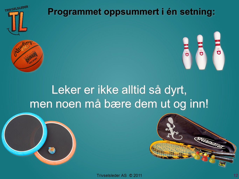 Trivselsleder AS © 2011 Programmet oppsummert i én setning: Leker er ikke alltid så dyrt, men noen må bære dem ut og inn.