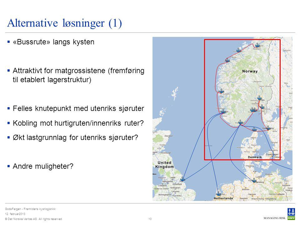 © Det Norske Veritas AS. All rights reserved. GodsFergen - Fremtidens kystlogistikk 12. februar2013 Alternative løsninger (1)  «Bussrute» langs kyste