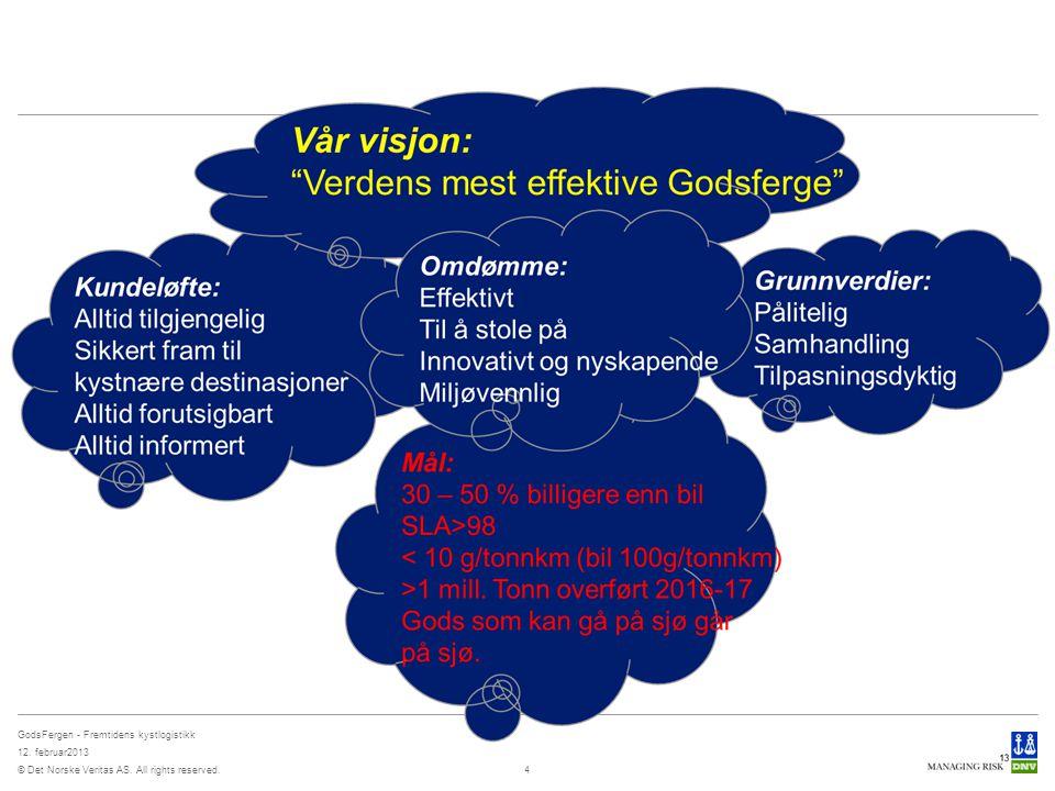 © Det Norske Veritas AS. All rights reserved. GodsFergen - Fremtidens kystlogistikk 12. februar2013 4