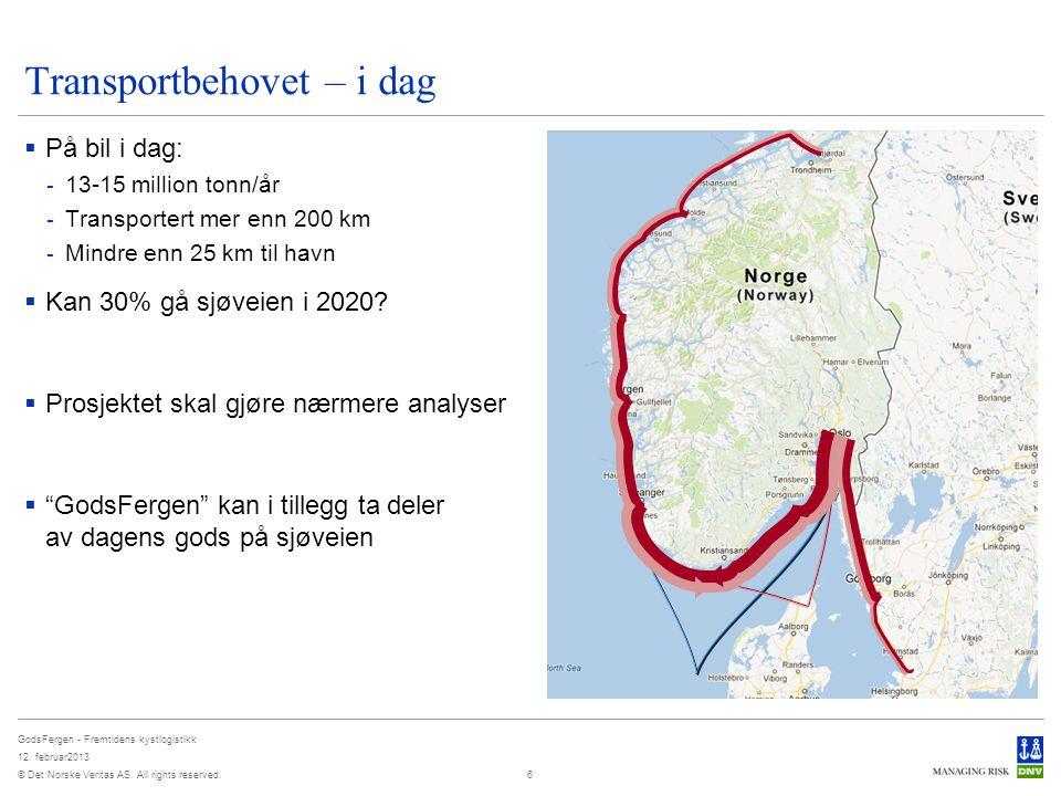 © Det Norske Veritas AS. All rights reserved. GodsFergen - Fremtidens kystlogistikk 12. februar2013 Transportbehovet – i dag  På bil i dag: - 13-15 m
