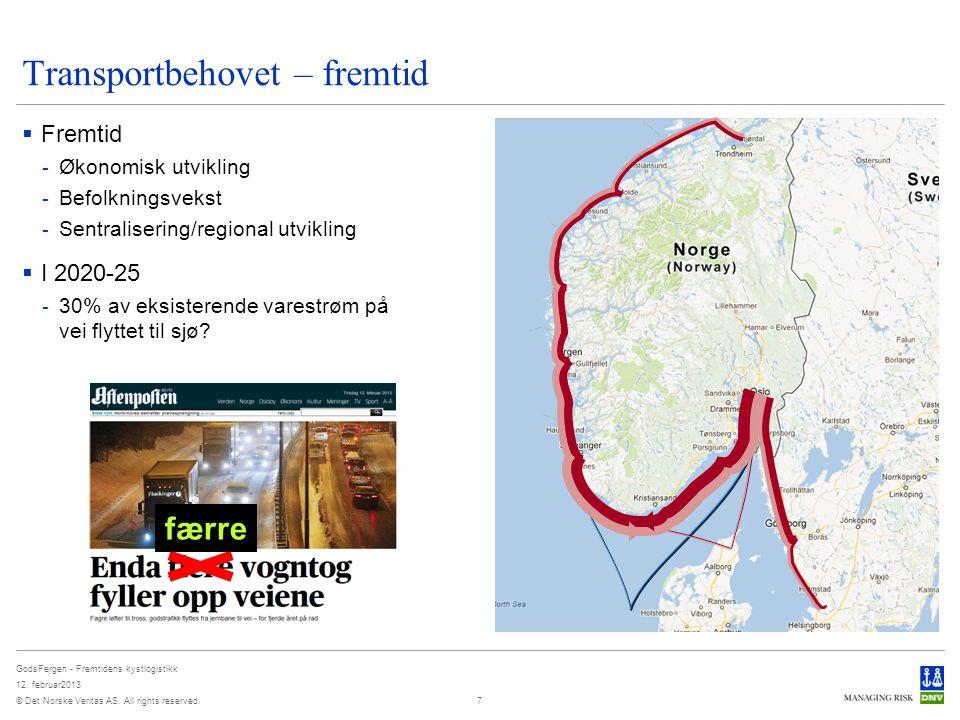 © Det Norske Veritas AS. All rights reserved. GodsFergen - Fremtidens kystlogistikk 12. februar2013 Transportbehovet – fremtid  Fremtid - Økonomisk u